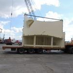 Half a Water Filter Tank being delivered to the Vessel